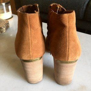 Michael Kors tan acorn ankle boots / open booties